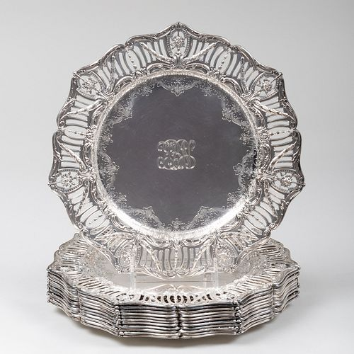 Set of Twelve American Silver Place Plates