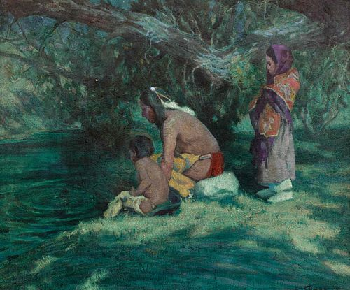 Eanger Irving Couse (American, 1866-1936) Watching the Rising Trout
