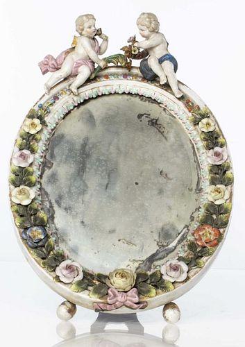 German Porcelain Table Top Mirror