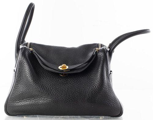 Hermes Black Clemence Leather Lindy 30cm Handbag