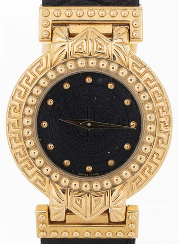 Versace 18K Yellow Gold Watch With Crocodile Band