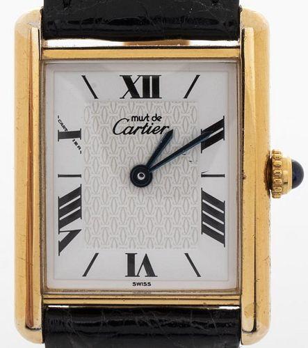 Vintage Must De Cartier Vermeil Tank Ladies Watch
