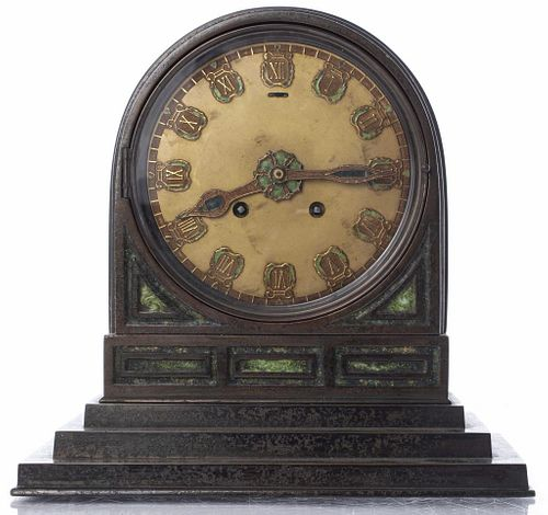 LC Tiffany Furnaces Bronze And Enamel Mantel Clock