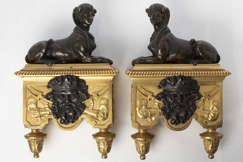 Regency Style Gilt Bronze Nautical Chenets, Pair