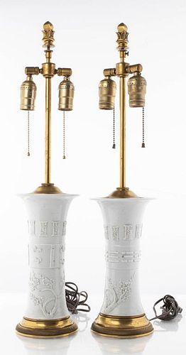 Chinese Blanc de Chine Porcelain Table Lamps Pr