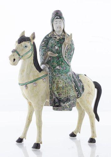Chinese Famille Verte Porcelain Woman on Horse