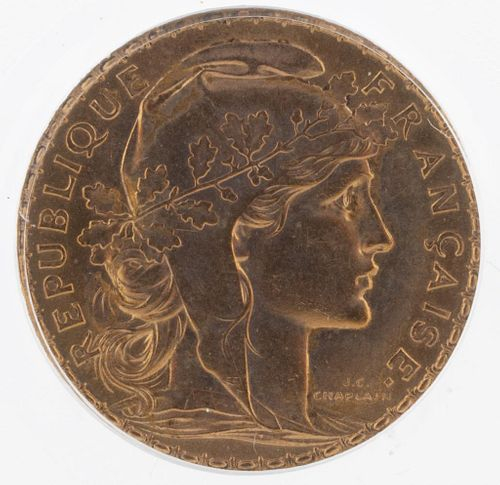 Antique 1908 22K Yellow Gold 20 French Franc Coin