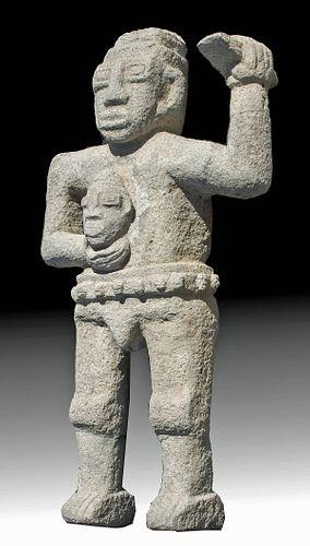 Costa Rican Stone Statue of Headhunter w/ Trophy Head