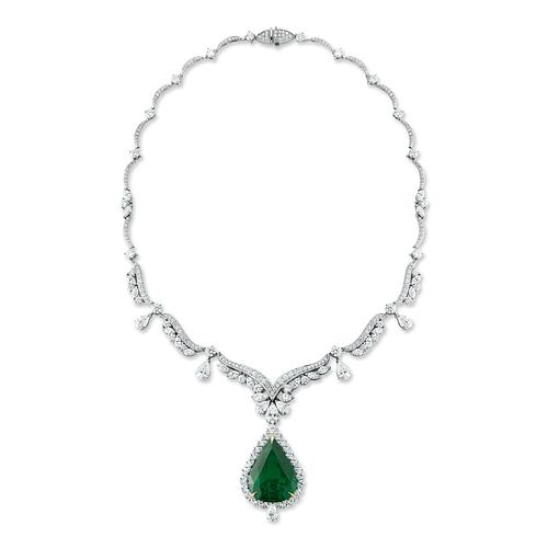 33.65ct Emerald And 21.61ct Diamond Necklace