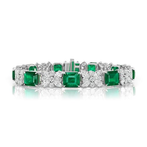 24.45ct Emerald And 11.10ct Diamond Bracelet