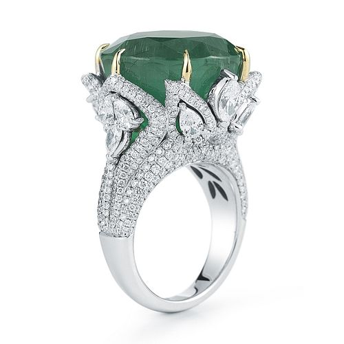 28.99ct Emerald And 4.50ct Diamond Ring