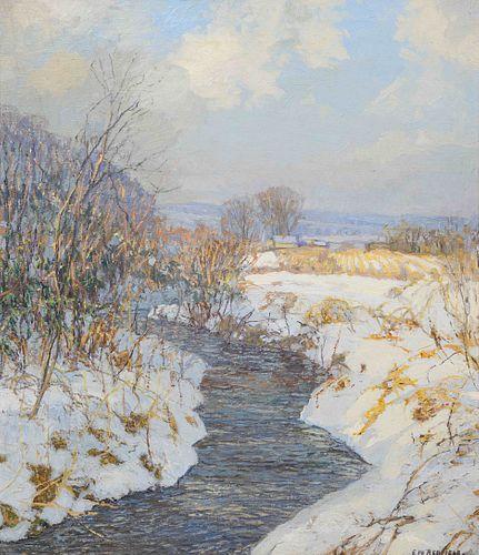 Edward Willis Redfield(American, 1869-1965)The Peaceful Stream in Winter, c. 1915