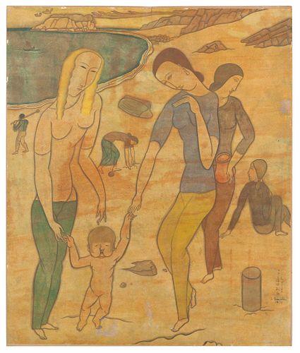 Leonard Tsuguharu Foujita (French/Japanese, 1886-1968) Femmes et bebe sur la plage, 1917