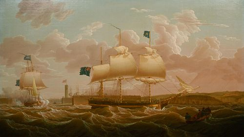 Robert Salmon (American/Scottish, 1775-1844) A privateer in two positions leaving Whitehaven Harbour, 1801