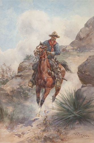 Herman Wendelborg Hansen  (German/American, 1854-1924) Cowboy Rider