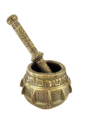 A Judaica Brass Mortar & Pestle