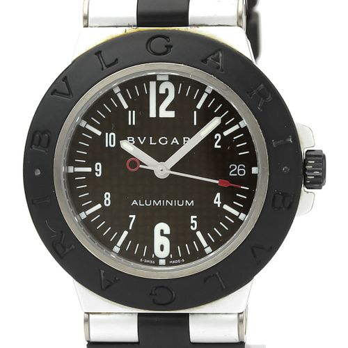 BVLGARI Alminium Carbon Dial Rubber Automatic Mens Watch AL38TA BF527449