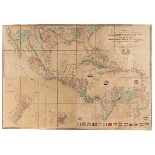 Dally, Nicolas. Nouvelle Carte Physique, Politique, Industrielle & Commerciale de l'Amérique... ca.1845. Mapa litográfico coloreado.