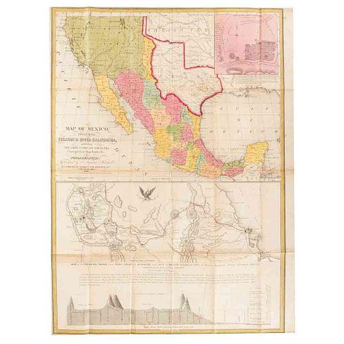Mitchell, Samuel Augustus. Map of Mexico... Philadelphia, 1848. Mapa, litográfico coloreado. Ilustra el Progreso de la Guerra de 1847.