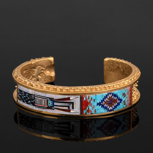 A Carl and Irene Clark Gold Cuff Bracelet with Micro-Mosaic Inlay