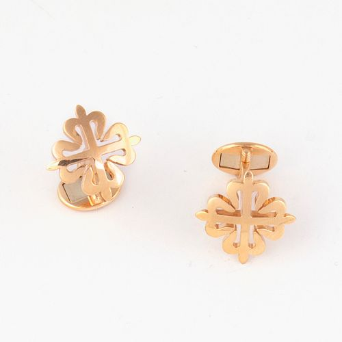 A Pair of Patek Philippe Calatrava Pink Gold Cufflinks