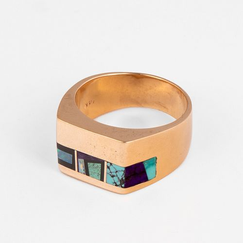 A Montez Gold, Turquoise, Onyx, Sugalite and Black Opal Ring