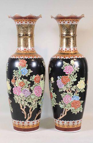 Monumental Pair of Famille Noir Porcelain Urns