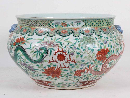 Chinese Famille Vert Porcelain Jardiniere