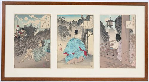 Japanese Woodblock Triptych, 100 Moon Series