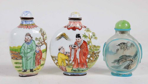 Three Chinese Enamel and Glass Snuff Bottles