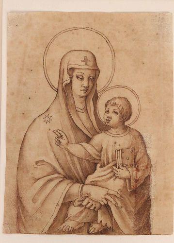 Old Master Pen, Ink, & Wash, Madonna and Child