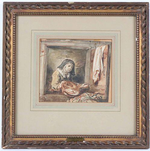 Abraham van Strij, Mixed Media, Woman in Window
