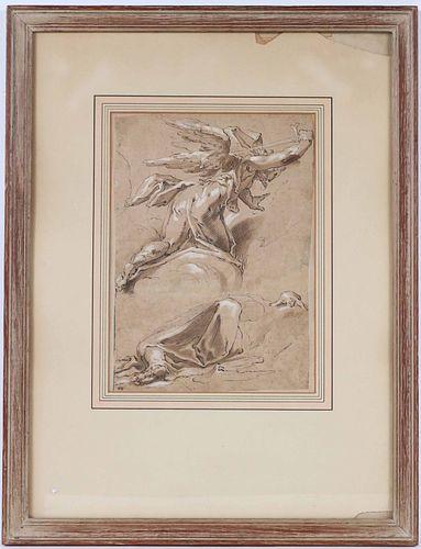 Old Master, Pen, Ink & Wash, The Avenging Angel