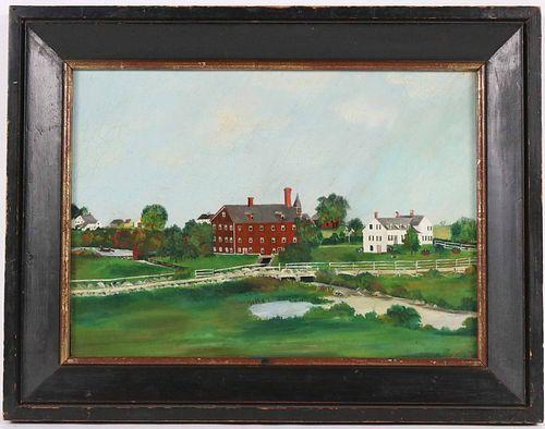 Oil on Canvas, American School, Farm Scene