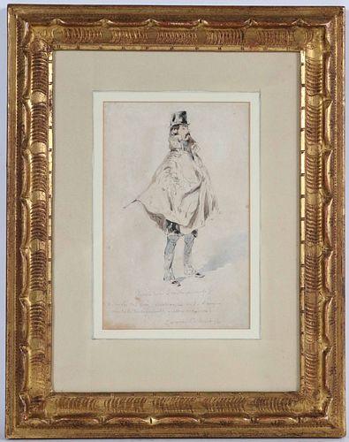 Paul Gavarni, Graphite & Watercolor, Le Bourgeois
