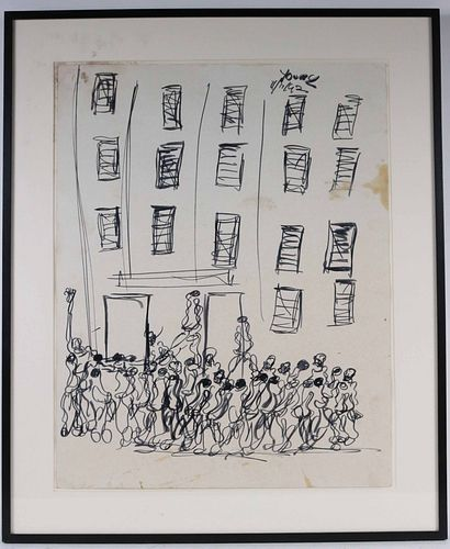Purvis Young, Ink on Paper, Figures near Building