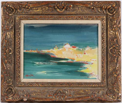 Mordechai Avniel, Oil on Board, Beach Scene