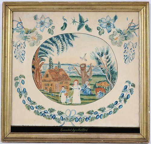 Watercolor on Paper, Rural Farm Scene