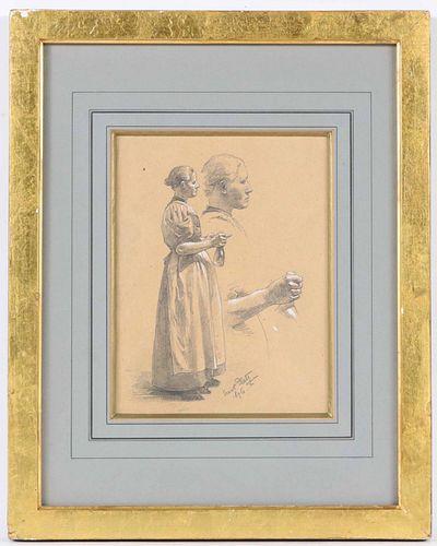 Ernst Heinrich Platz, Graphite, Study of Woman