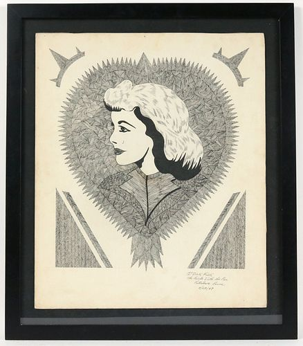 Dick Prisk, Pen and Ink, Profile of Woman