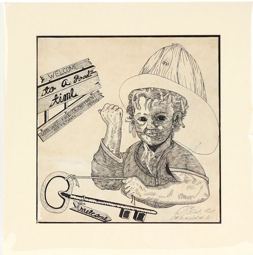 Dick Prisk, Pen and Ink, Boy with Fire Helmet