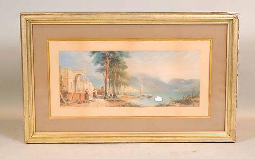Gouache on Paper, Mediterranean Coastal Scene