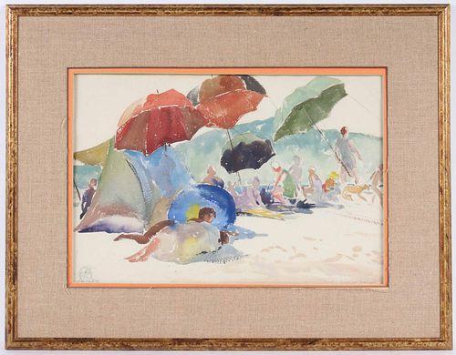 Henry George Keller, Watercolor, Beachgoers