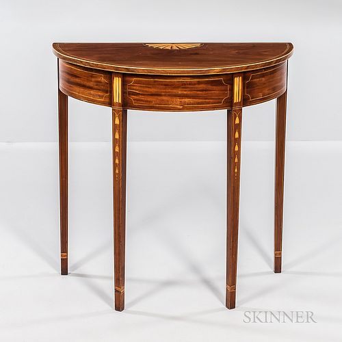 Federal Mahogany Inlaid Demilune Console Table