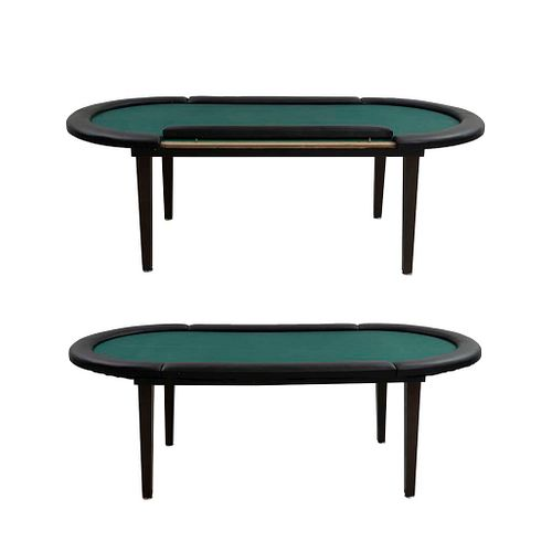 Par de mesas de juego. SXXI En madera y aglomerado. Cubiertas con recubrimiento de fieltro verde y ribete de vinipiel. 73 x 210 x 108cm