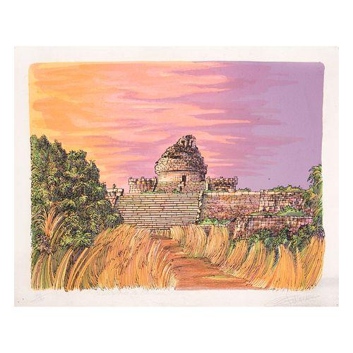 Ricardo Falconer. Observatorio de Chichen Itzá. Firmado a lápiz. Serigrafía 96/200. Con certificado de Galería Talento Arte Visual.
