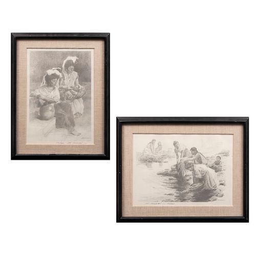 EDGARDO COGHLAN Lote de 2 obras gráficas. Par de mujeres y Lavanderas Firmadas a lápiz y plancha al frente Litografías 112/1000