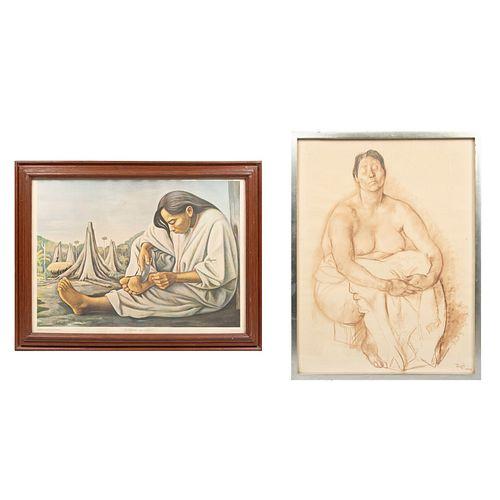 Lote de 2 impresiones. FRANCISCO ZÚÑIGA Consta de: La Espina. Impresión. Ediciones Galería de arte Misrachi. 43 x 59 cm. Otra.