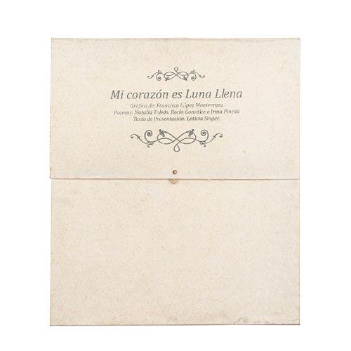 """CARPETA """"MI CORAZÓN ES LUNA LLENA"""" Texto de presentación por Leticia Singer. Gráficas de Francisco López Monterrosa."""
