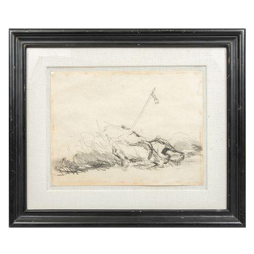 """LUIS FILCER. """"Pescadores"""" Firmado al frente. Tinta y carbón sobre papel. Con certificado de auntenticidad. 36 x 55 cm"""